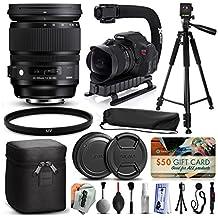 "Sigma 24-105mm F4 DG OS HSM Art Lens for Nikon (635306) + Full Size 60"" Tripod + Action Video Stabilizer + Ultra Violet UV Filter + Deluxe Cleaning Set + Lens Brush + Cap Keeper"