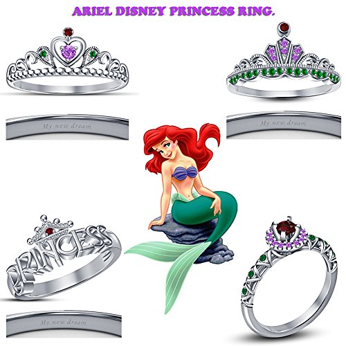 TVS-JEWELS Ariel Disney Princess Combo Ring With Multi Stone White Platinum Plated 925 Sterling Silver (7)