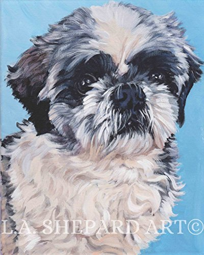 (A Shih Tzu dog art portrait print of an LA Shepard painting 8x10