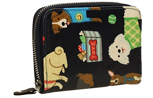 Ryder Dogs Pups Print Oil Cloth Ladies Womens Girls Folding Zip around Wallet - Small- Navy (Ten Ladies Zip Around Wallet)