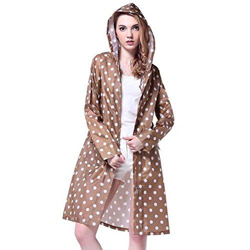 Trinny Women's Long Dot Waterproof Raincoat Rainwear Rain Jacket (Coffee)