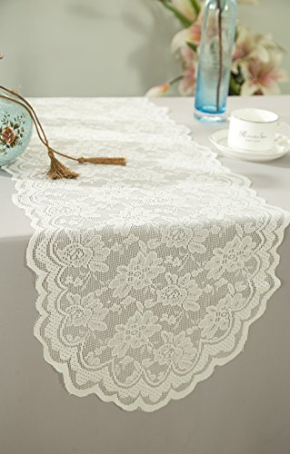 Wedding Linens Inc. Wholesale 13.5 in x108 in Lace Table Runner Wedding Table Runner for Wedding Décor Events Banquet Party Supplies - Ivroy (Banquet Supply Wholesale Linens)