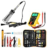 Soldering Iron Kit Adjustable Temperature Welding Tool with Digital Multimeter Inspection Tools, 2pcs testing wire, soldering iron & holder, tin wire & tube, wire strippe, desoldering pump