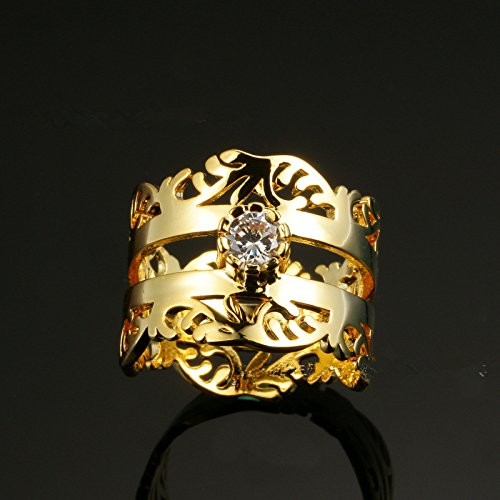 Joyería nupcial, juego de anillos para dama y caballero, anillo de matrimonio con diseño de corona real de princesa, oro amarillo de 18 quilates (US 6 -9): ...