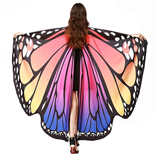 Multifit Womens Prop Soft Fabric Butterfly Wing Shawl Fairy Ladies Holloween Costume Accessory Dance Wings(Purple)