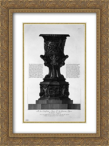 Giovanni Battista Piranesi 2X Matted 18x24 Gold Ornate Framed Art Print 'Great Ancient vase with its Marble Pedestal Found at Hadrian`s Villa in 1769'