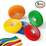 Block Tape, JoJoMooN 5 Rolls(3ft/Roll) Multicolor Silicone Non-Toxic Safe Tapes with Reusable Self-Adhesive Strips as Brick Base Plates for Lego Toy Building Block, Perfect for Kids of All Age