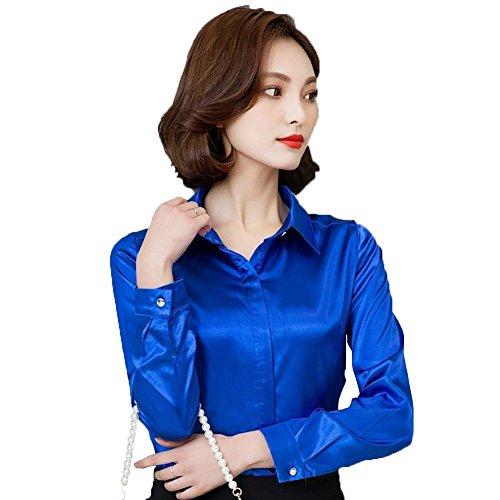 Satin Blouse Top - YOUMU Women Satin Silk Long Sleeve Button-Down Shirt Formal Work Silky Blouse Top