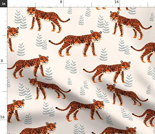 Childrens Fabric - Safari Tiger Cadmium Orange/Slate Gray/Champagne Children Illustration Kids Print on Fabric by The Yard - Sport Lycra for Swimwear Performance Leggings Apparel Fashion