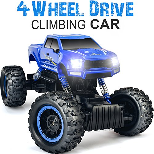 DOUBLE E 1:12 RC Cars Monster Truck 4WD Dual Motors Rechargeable Off Road Remote Control Truck, Blue ()