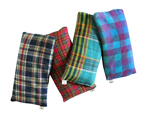 Scented Eye Pillows Pack of (4) Soft Cotton Flannel 4 x 8.5 Organic Lavender Flax Seed Plaid red blue green yellow