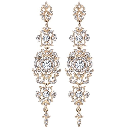 mecresh Gold Long Wedding Chandelier Austrian Crystal Earrings for Women Brides Bridesmaid