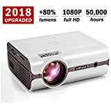Video Projector, 2018 Upgraded (+80% Lumens) Crenova XPE496 1080P HD Home Portable Video Projector (for PC/MAC/TV/Movies/Games/Outdoor with USB/SD/AV/HDMI/VGA Input)