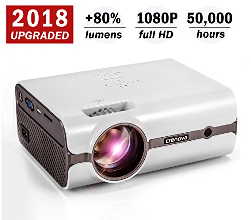 Projector, 2018 Upgraded (+80% Lumens) Crenova XPE496 1080P HD Home Portable Video Projector (PC/MAC/TV/DVD/Movies/Games/Outdoor USB/SD/AV/HDMI/VGA Input) by CRENOVA