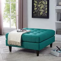 Modway EEI-2139-TEA Empress Upholstered Large Ottoman, Teal