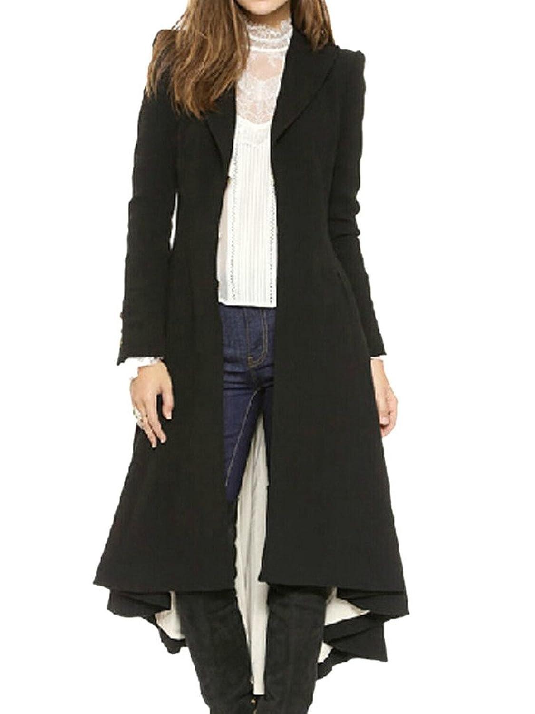 Clothink Women Black Woolen Lapel Buttoned Cuff Dipped Fishtail Back Plain Coat