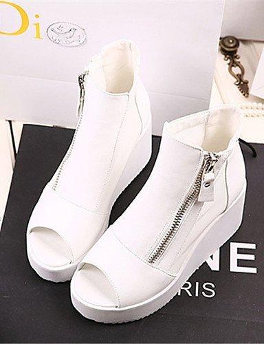 ShangYi Womens Shoes Platform Peep Toe Sandals Casual Black/White Black