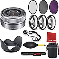 Sony SELP1650 16-50mm Power Zoom Lens With 3 Piece Filter Kit, Blower, Lens Hood, Lens Pen, Case, Cleaning Cloth, 3 Piece Macro Closeup Kit