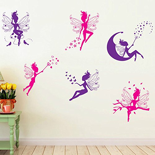 Cute Elf Fairy Pattern DIY Wall Stickers Living room Nursery Baby's Room Decorative Mural Decal Decor Self Adhesive Home Decoration (style 6) (Fairies Wall Decals)