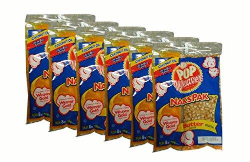 Pop Weaver Naks Pak 8 oz Butter Flavored Coconut Oil and Popcorn Packs for 6 oz Popper Popping Machine - 6 PACK
