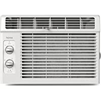 hOme 5000 BTU Window Mounted Air Conditioner - Compact 7-speed Window AC Unit Small Quiet Mechanical Controls 2 Cool and Fan Settings with Installation Kit Leaf Guards Washable Filter - Indoor Room AC