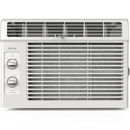 hOme 5000 BTU Window Mounted Air Conditioner - Compact 7-speed Window AC Unit Small Quiet Mechanical Controls 2 Cool and Fan Settings with Installation Kit Leaf Guards Washable Filter - Indoor Room AC (Grill Bracket Wall)