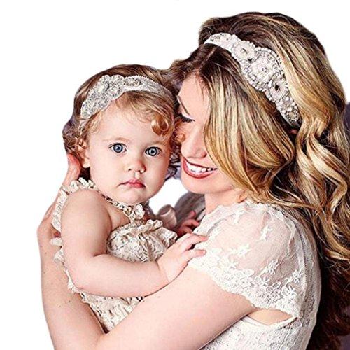 [Baishitop Paternity Mom and Baby Girls Headband, Rhinestone Bead Retro Lace Hairband] (European Plain Base)