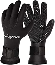 WOOWAVE Diving Gloves 3mm Premium Double-Lined Neoprene Wetsuit Gloves with Adjustable Strap for Men Women Scu