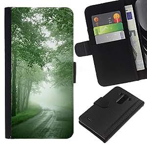 JackGot ( Natura Bella Forrest Green 7 ) LG G3 la tarjeta de Crédito Slots PU Funda de cuero Monedero caso cubierta de piel