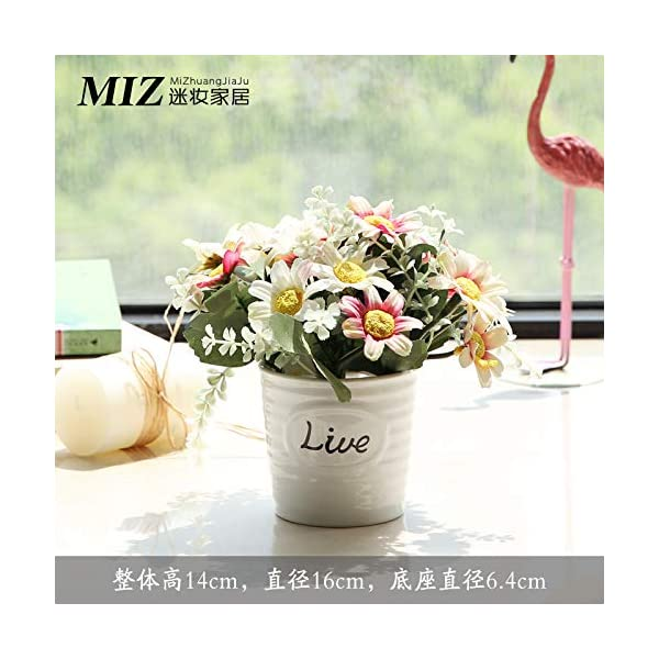 Silk Flowers Dried Flowers Bouquet Plastic Fake Flower Simulation Flower Set Decoration Decorative Room Home Flower Potted Plant Live Bottle + Powder White Cosmos