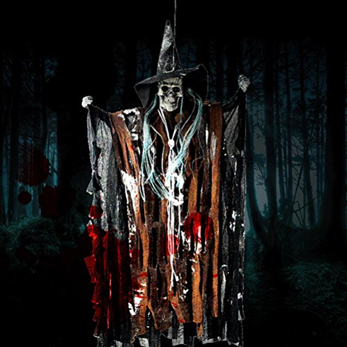 Halloween Props Animated Skeleton Hanging Witch Ghost Voice Activated Scary Spooky Halloween Prop Decoration (Scary Halloween Witch)