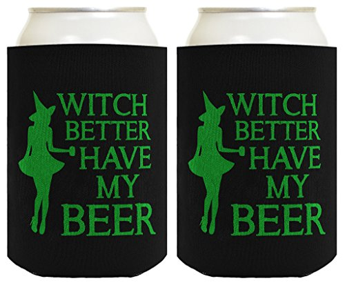 Funny Halloween Coolie Witch My Beer 2 Pack Can Coolie Drink Coolers Coolies Black