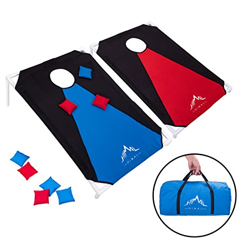 Himal Portable Assemble PVC Framed Corn Hole Outdoor Game Set with 8 Bean Bags and Carrying Case (3 x 2-feet) (Iii Framed Set)