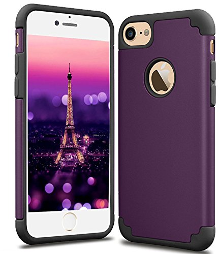 CaseHQ iPhone 6S plus Case,iPhone 6 plus Case,slim Dual Layer Silicone Rubber PC Protective Case Fit for iPhone 6 (2014)/6S 5.5 inch (2015) Hybrid Hard Back Cover Soft Silicone-dark purple black