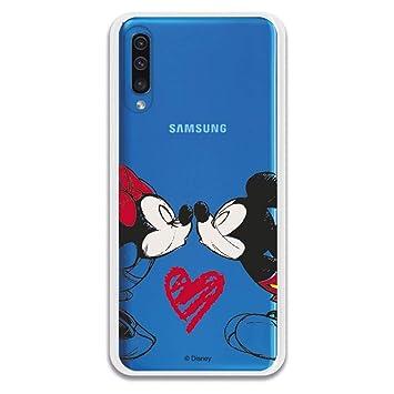 Carcasa Oficial Mickey Y Minnie Beso Clear para Samsung Galaxy A50