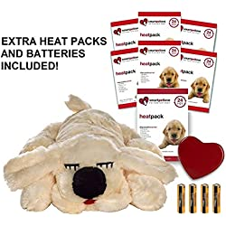 Smart Pet Love Golden Snuggle Puppy Heartbeat Pillow for Dogs PLUS 7 Heat Packs and Extra Batteries