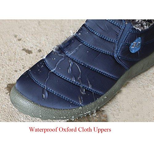 JOINFREE Unisex Warm Plüsch Futter Slip On Flat Ankle Schnee Stiefel Winter Warme Schuhe Weinrot