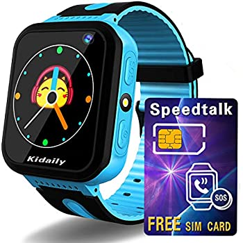 Kidaily Kids Smart Watch Phone with SIM Card - Smartwatch GPS Tracker for Ages 3-12 Boys Girls GPS Watch Activity Tracking SOS Camera Alarm Clock Flashlight ...