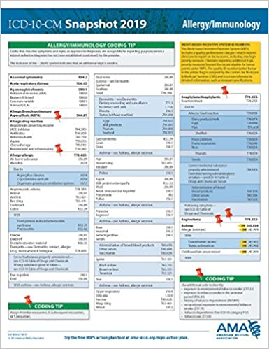 ICD-10-CM 2019 Snapshot Coding Card - Allergy/Immunology