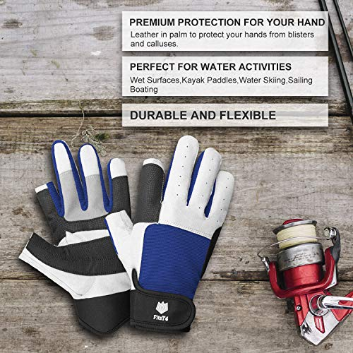FitsT4 Sailing Gloves 3/4 Finger and Grip Great for Sailing, Yachting, Paddling, Kayaking, Fishing, Dinghying Water Sports for Men and Women