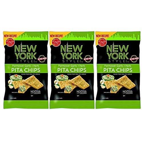 New York Style Pita Chips, Parmesan, Garlic & Herb (Pack of 3)