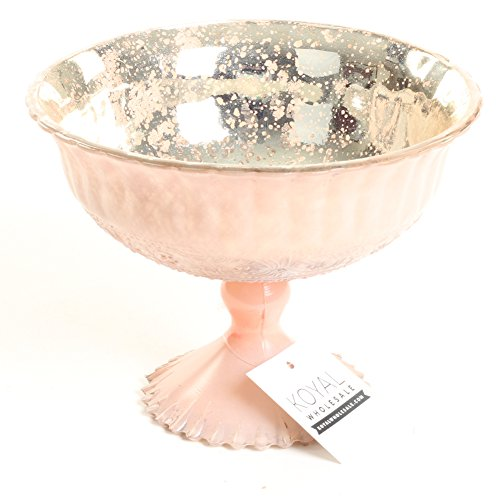 Pink Floral Glass (Koyal Wholesale Compote Bowl Centerpiece Mercury Glass Antique Pedestal Vase, Floral Centerpiece, Wedding, Bridal Shower, Home Décor (7
