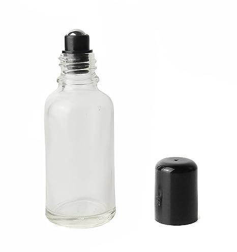 Juego de 3 tarros de botellas de cristal transparente con bolas de acero para cosméticos,