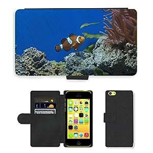 GoGoMobile PU LEATHER case coque housse smartphone Flip bag Cover protection // M00125209 Nemo Acuario Clown Fish Fish // Apple iPhone 5C