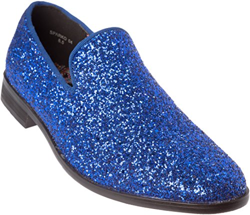 sparko04s Mens Slip-On Fashion-Loafer Sparkling-Glitter Royal-Blue Dress-Shoes Size 11