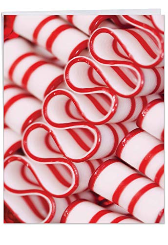 Extra Large 'Hooked on Candy' Merry Christmas Greeting Card - Featuring an Image of Striped Red and White Ribbon Candy With Envelope 8.5 x 11 Inch - Big Happy Holidays Card J6000DXSG ()