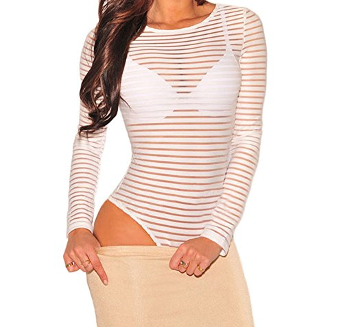 TomYork Sheer Striped Bodysuit(White,L)