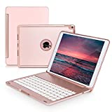 New iPad Pro 10.5 Keyboard Case,iLuen Protective Ultra Slim Shell Folio Stand Auto Sleep/Wake Case with 7 Colors Backlit Wireless Bluetooth Keyboard for 2017 iPad Pro 10.5 Model A1701/A1709(Rose Gold)