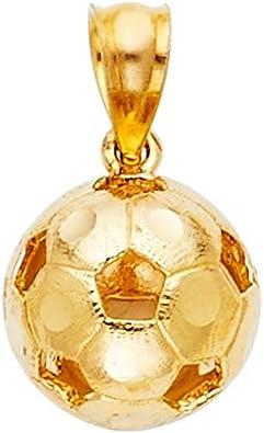 Colgante de balón de fútbol de oro amarillo de 14 quilates, 13 x 20 ...