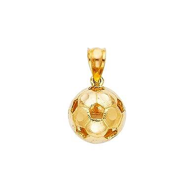 Colgante de balón de fútbol de oro amarillo de 14 quilates, 13 x ...